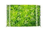 MANUMAR Damen Sarong Blickdicht | Pareo Strandtuch | Leichtes Wickeltuch in Grün mit Schmetterling-Motiv mit Fransen/Quasten | 155x115 cm | Sauna-Handtuch | Haman-Tuch | Bikini | Bali