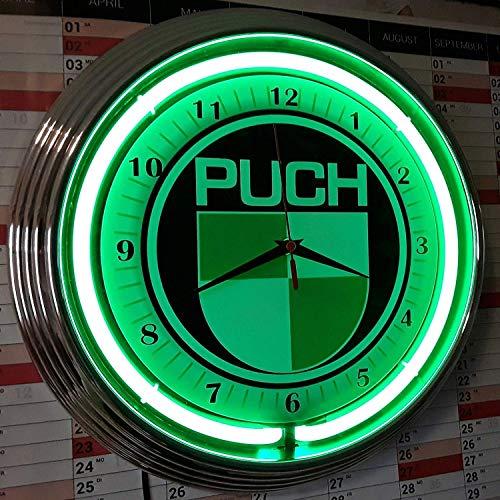 NEONUHR NEON CLOCK - PUCH - WANDUHR BELEUCHTET NEON GRÜN - GARAGE WERKSTATT WANDUHR!