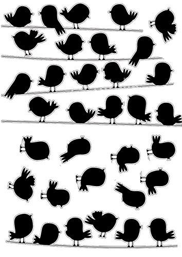 Décoration adhésive 157159 Petits Oiseaux sur Le Fil Polyvinyle, Noir, 21 x 0,1 x 29,6 cm