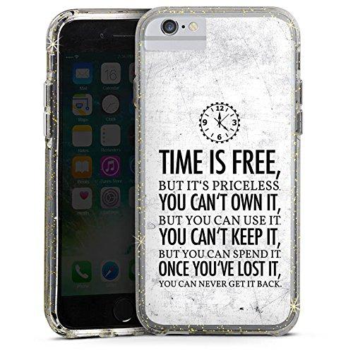 Apple iPhone 8 Bumper Hülle Bumper Case Glitzer Hülle Zeit Sayings Sprüche Bumper Case Glitzer gold