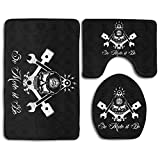 Proud Clothing 3 Piece Bathroom Rug Set - Freemason Logo Skull Head Skidproof Toilet Bath Rug Mat U Shape Contour Lid Cover for Shower Spa