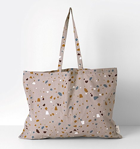 Ferm Living 4018 - Tote Bag - Shopper - Henkeltasche - Terrazzo - Rose - XL 100 % Baumwolle