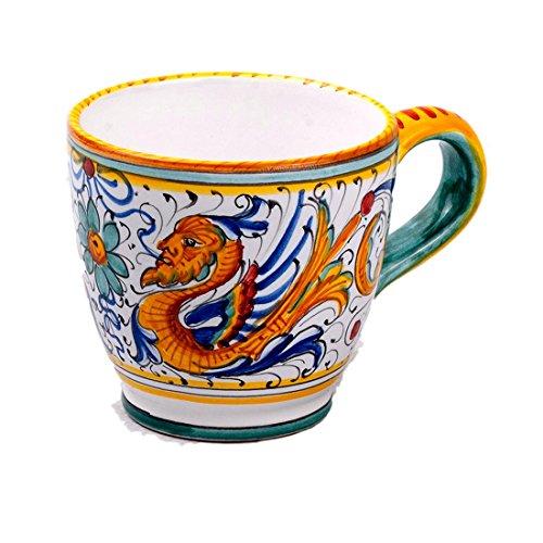 MICHELANGELO Peint à la main, Poterie - Mug Eau/Vin Œ décoration Raffaellesco en Céramique 13x9 H9.5 cm (JAUNE)