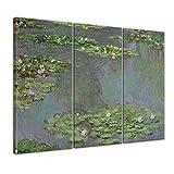 Bilderdepot24 Kunstdruck - Alte Meister - Claude Monet - Seerosenteich - 150x90cm dreiteilig - Leinwandbilder - Bilder als Leinwanddruck - Bild auf Leinwand - Wandbild