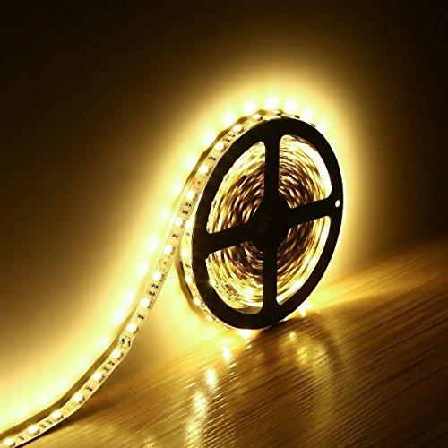 Minger 5mt 300 LEDs SMD 5050 LED Striscia Set Light 12V Non Impermeabili Ideale Per Giardini, Case, Cucina (Bianco Calda) - Stile Delle Lettere Set
