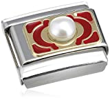 Nomination Composable Damen-Bead Classic Perle Stahl Emaille 18k-Gold (Blumen rot) 030512/09