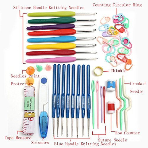 16 Größe Crochet Gestrickte Set 57 Pin Knitting Multicolor Häkelnadeln Nadeln Stiche Webstuhl Garn Werkzeug Für DIY Handwerk Nähen, Multi Farbe