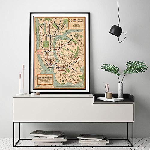 SYFDW Leinwand Bild Poster Wandkunst U-Bahn Karten Leinwand Malerei New York City Poster Und Drucke Stil Wandbilder Für Wohnzimmer 50Cmx70Cm -