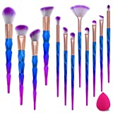 Make Up Pinsel Set MissSpicy 12pcs Einhorn Pinsel Schminkpinsel Kosmetikpinsel Lidschatten Gesichtspinsel Foundation Eyeliner Pinsel mit Make-up Schwamm