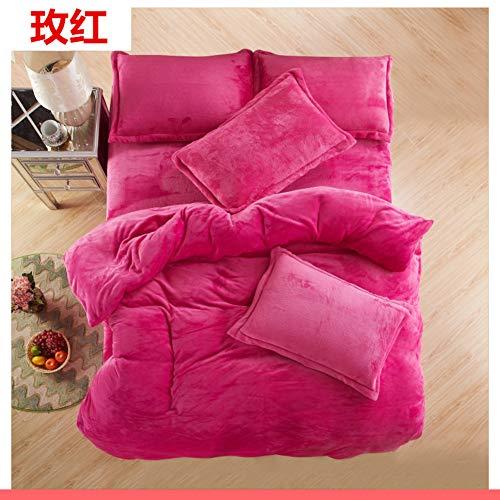 Bettbezug Winter-plüsch, Warm dick Plus samt Coral Fleece Set 4-teilig Volltonfarbe bettwäsche-D