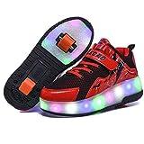 Wasnton Fille de garçons Fille USB Chargeable Skate Roller Shoes Unisexe Enfants LED Double Roues Rétractable Skateboarding Rollerblades Sports de Plein air Baskets de Gymnastique