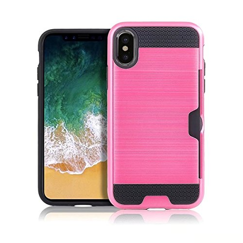 CaseforYou Hülle iphone X Schutz Gehäuse Hülse Brushed Textured PC Inner TPU Hybrid Back Case Cover Shock Resistant Protector with Card Slot Schutzhülle für iphone X Handy (Golden) Hot Pink