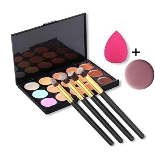 MuSheng(TM) 1 x 15 couleur concealer + 1 x éponge puff + 4x pinceau de maquillage + 1x visage bouffée
