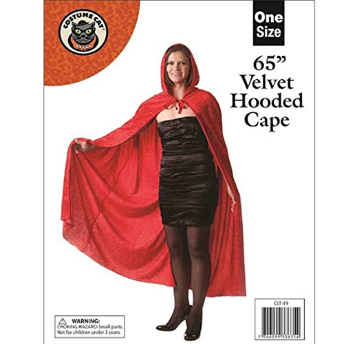 NEW UNISEX LONG 65 RED 65 INCH VELVET VELOUR HOODED CAPE CLOAK HALLOWEEN HORROR GHOUL FANCY DRESS COSTUME CAPE FANCY DRESS HALLOWEEN COSTUME PARTY CARNIVAL HORROR OUTFIT by Unknown