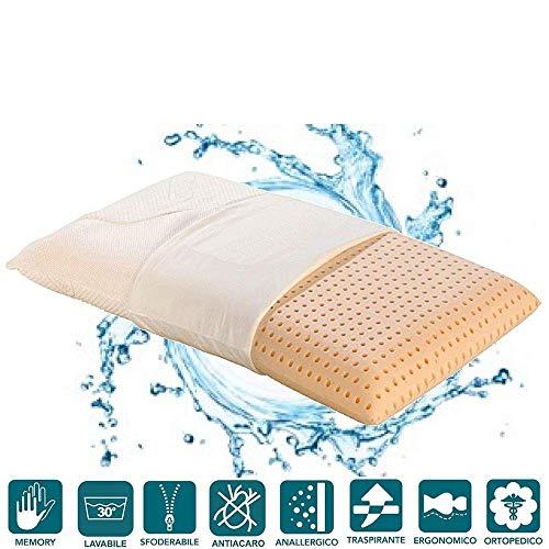 Evergreenweb - cuscino memory foam 40x70 alto 12 cm da letto lavabile in lavatrice super igienico fodera antiacaro sfoderabile guanciale collo per cervicale ortopedico ideale x tutti letti e materassi