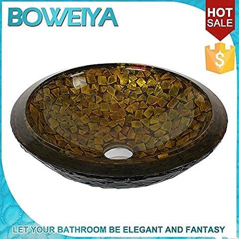 AllureHome Round verre Vasques Arts / salle de bain trempé contemporain lavabo en verre set (25mm * 425 * H140mm) , Seul