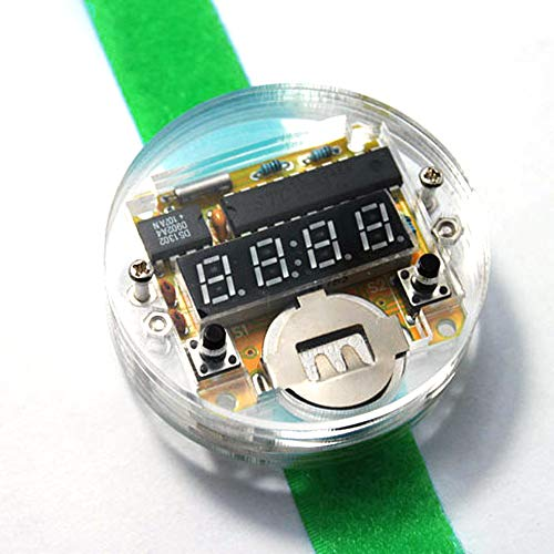 Festnight Single-Chip-LED-Uhr-Uhr-Uhr-Uhr-Uhr DIY Satz elektronische Uhr-Modul-elektronische Digitaluhrkomponenten mit grünem Armband -
