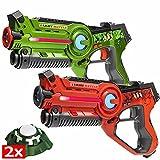 Light Battle Laser Tag Set - 2 Active Infrarot-Pistole grün/orange Plus 2 Ziele - LBAP22212