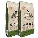 vidaXL 2x15kg Hundefutter Adult Sensitive Lamb & Rice 30kg Hunde Trockenfutter