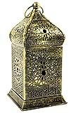 Guru-Shop Orientalische Messing Laterne in Marrokanischem Design, Windlicht, 17x8,5x8,5 cm, Orientalische Laternen