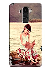 Omnam Cute Girl Sitting And Reading Book Printed Designer Back Cover Case For LG G4 Stylus