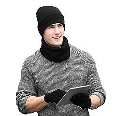 Idea Regalo - VBIGER Cappelli Invernali Uomo Cappelli da Uomo Invernali Sciarpa Uomo Guanti Invernali Guanti Touch Screen