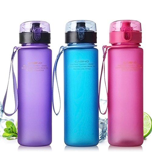 e Flasche Shaker Kunststoff Kürbis 560 ml Trinkflasche mit BPA-frei Blau Grün Lila Grau bunt, 560 ml, blau ()