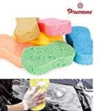 #3: Colorful Car Washing Sponge Auto Glass Care High Flexibility Strong Absorbent Porous Cleaning Sponges Washing Block Cleaner Tool - Colours May Vary (Pack of 4)