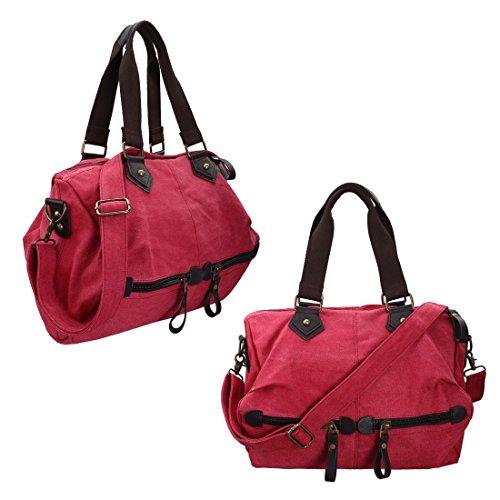 BMC da donna in tela, materiale resistente con doppia maniglia superiore grande Satchel borsetta Strawberry Red