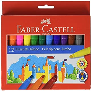 Faber-Castell – Estuche de cartón con rotuladores escolares Jumbo