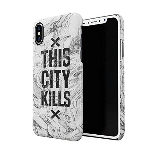 Night At The New York City Manhattan Long Island Custodia Posteriore Sottile In Plastica Rigida Cover Per iPhone 7 Plus & iPhone 8 Plus Slim Fit Hard Case Cover City Kills