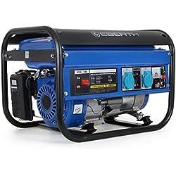 EBERTH 3000 vatios grupo electrógenos generador eléctrico (inicio por cable, refrigerado por aire, la protección contra la falta de aceite) azul