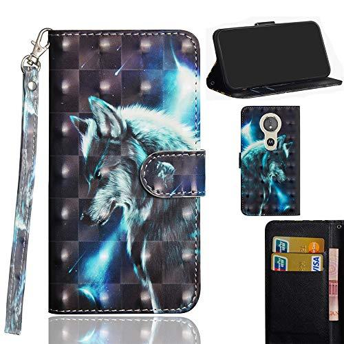 Ooboom Motorola Moto E5/G6 Play Hülle 3D Flip PU Leder Schutzhülle Handy Tasche Case Cover Ständer mit Trageschlaufe Magnetverschluss für Motorola Moto E5/G6 Play - Wolf