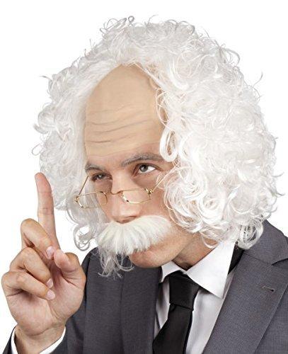 rückter Wissenschaftler Einstein's Weihnachtsmann Weihnachtsmann Alter Mann Opa Großvater Perücke & Brillen Kostüm Kleid Kostüm Outfit Accessoire - Weiß, One size (Einstein Perücke Kostüme)