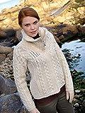 Aran Crafts 100% Merinowolle Doppelter Kragen Reißverschluss Pullover Natur Gr. Größe L, Braun - Natural