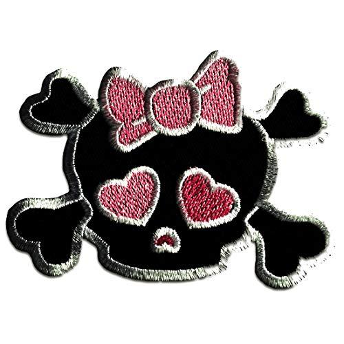 Aufnäher/Bügelbild - Totenkopf Emo girly - pink - 7,5 x 7,5 cm - Patch Aufbügler Applikationen zum aufbügeln Applikation Patches Flicken