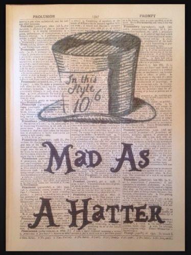 LOCO como un Sombrerero Loco Alicia en el país de las maravillas Vintage impresión diccionario página arte imagen