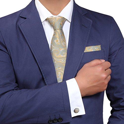 YACB0011 Gelbe blaue Paisley-Beziehungen gewebte Jacquard-Seide-Bindung Bedruckte Krawatte von Y&G (Bindung Beziehungen)