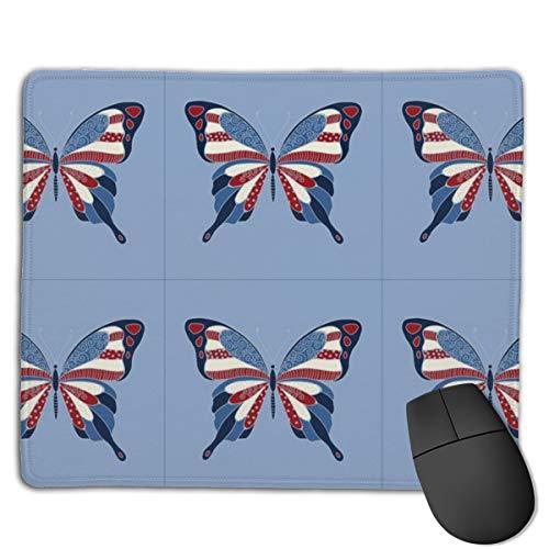 Preisvergleich Produktbild Patriotic Butterfly Pillow Mouse Mat Desk Pad with Non-Slip Rubber Base 18x22cm