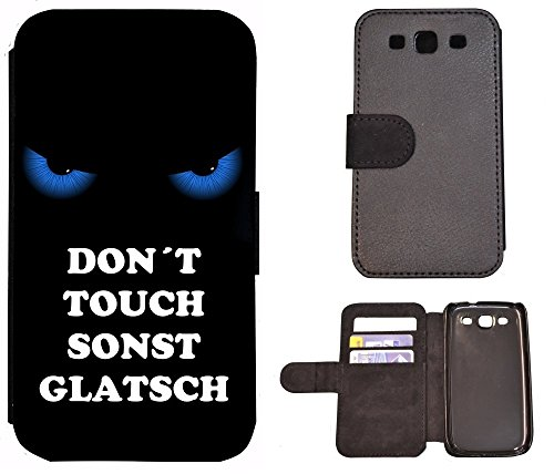 Schutz Hülle Flip Cover Handy Tasche Etui Case für (Apple iPhone 6 / 6s, 2011 Meins Finger Weg Rot Schwarz) 2004 Don´t Touch sonst Glatsch Blau Schwarz
