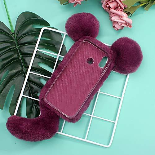 51h%2BdbE5y9L - Miagon Maus Schwanz Handyhülle für Huawei Y6 2019,Super Weich Winter Warm Lustig Kunstpelz Plüsch Fluffy Flexibel Handytasche Schale Case,Braun