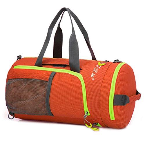 Jaimelavie Multifunktions Wasserdicht Sportspack Large Faltbar Sporttasche Rucksack Reisetasche Handtasche Barrel Bag Orange