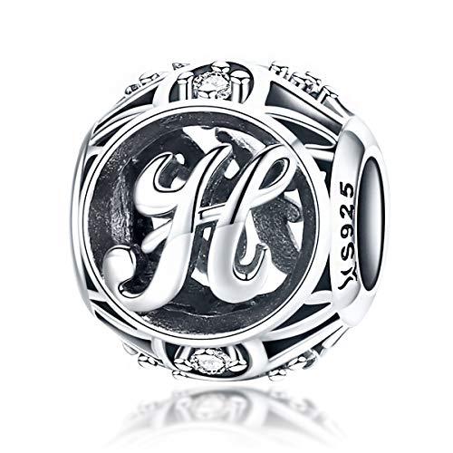 ling Silber Vintage A bis Z klare CZ Alphabet Buchstaben Beads für Pandora Charm-Armbänder, Armreifen und Halsketten (Buchstaben H) ()