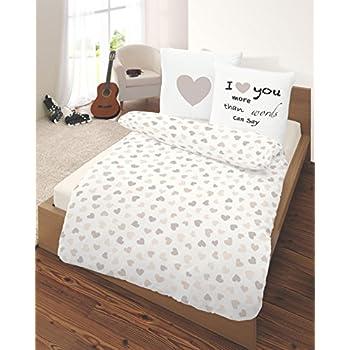 parure de lit en flanelle c ur i love you en beige taille 80 x 80 135 x 200 cm fabriqu en. Black Bedroom Furniture Sets. Home Design Ideas