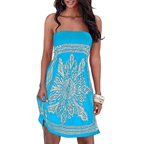 Shinekoo Damen Sommer Bandeau Bunt Tuch Kleid Tuchkleid Strandkleid Neckholder Schulterfrei Cover Ups Bandeau-kleid