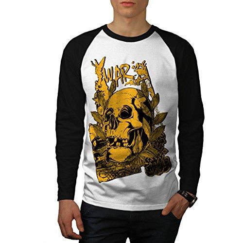 Krieg Inc Teufel Schädel Grab Herren NEU Weiß (Schwarz Ärmel) S Baseball lange Ärmel T-Shirt | (Teufel Pate)