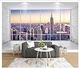Yosot Benutzerdefinierte Fototapete 3D Wandbild Tapete Für Wände 3D Balkon Fenster Stadt Hochhaus Landschaft Tv Hintergrund Wand Papier Wohnkultur-400cmx280cm