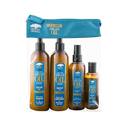 Argania Spinosa marocain organique argan huile 4PC sac cadeau ensemble - shampooing, revitalisant, styler à chaud, huile de traitement