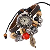 SNHWARE Bracelet Kreis Lederarmband Armband Für Unisex Personalisierte Echte Lederarmbänder Multi Stränge Einstellbare Armbänder Perlen Blatt Anhänger Uhr