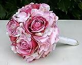 FRI-Collection Meisterfloristik Brautstrauß Biedermeier Seidenblumen Rosa Rosen weiße Hortensien #46552